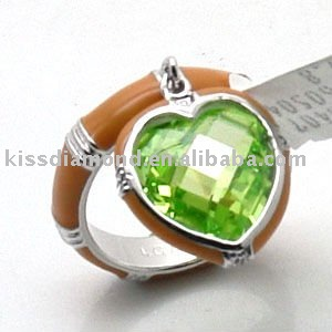 Elegant Apple Green CZ Heart Charm Ring Style