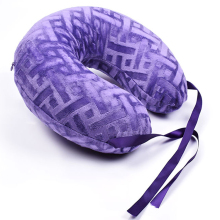SZPLH U shaped latex neck pillow with jacquard velvet cover
