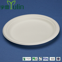 PL-09 Bleached 9 inch round diposable bagasse paper plates