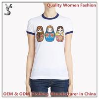 Women t shirt Supplier/Custom Printing Ringer t shirt/t shirt Wholesale China