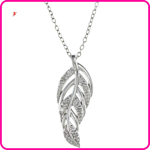 2014 Rhodium Plating Feather alloy Necklace (A110830)