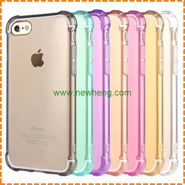 7 Colors Flexible Back Cover For IPhone 7 Clear Transparent shockproof TPU Case