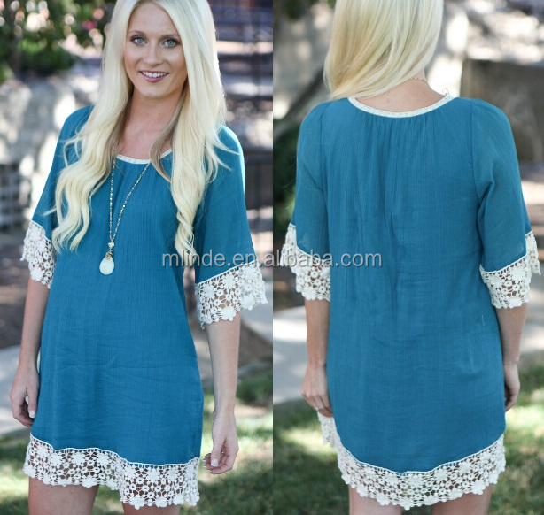 U neck Shift Dress, lace trim on hem of sleeves and bottom line