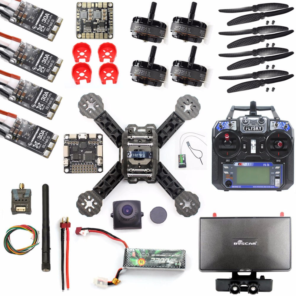 F18893-S DIY RTF Racer 190 FPV Drone F3 Flight Controller FS-I6 Transmitter Camera HD Monitor RC Multicopter Helicopter