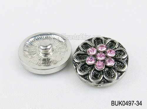 20mm Engraved flower pink crystal metal snap on buttons