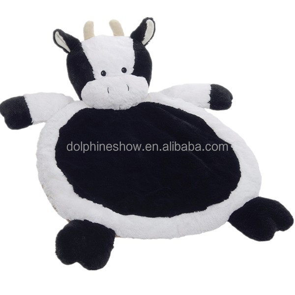 2015 Black and white cute plush cow toy stuffed plush baby play gym mat foldable kids folding play mat