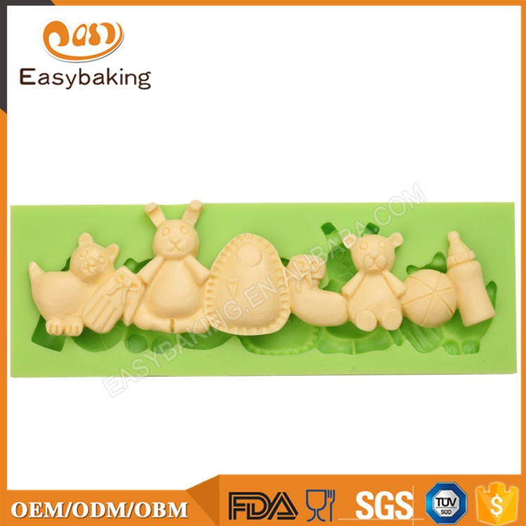 Baby toys series bear sock milk bottle Moulds Silicone Cupcakes