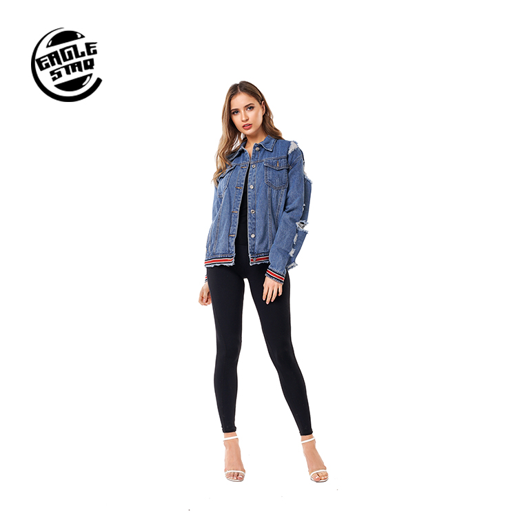 Wholesale Custom OEM ODM Customized Service Latest Fashion Daily Women Casual <strong>Hole</strong> Denim Jacket Jean Coat For Lady