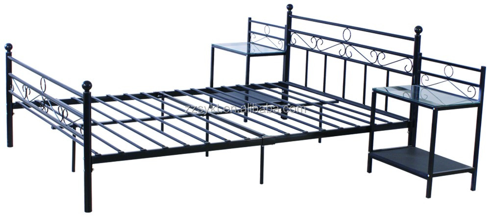 Strong home used metal tube double platform beds with bedside tables