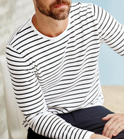 Black and white stripe high quality 100% cotton long sleeve man t-shirt