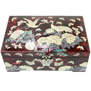 RED Wooden Lacquerware Mother of Pearl Nacre Inlaid Bail Jewelry Box Handmade