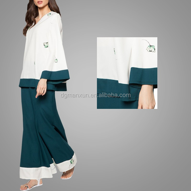 Latest Burqa Design In Picture Long Sleeve Simple Style Baju Kurung Malaysia Muslim Women Dress