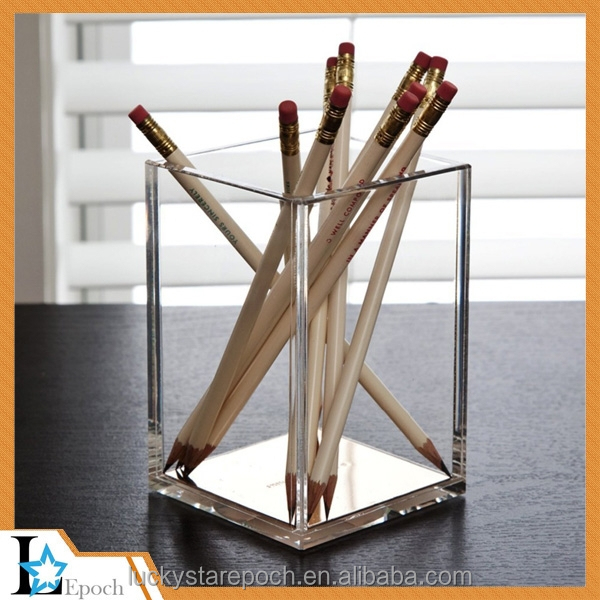 Cheap durable desktop clear fashion curved design acrylic pencil stand acrylic pen holder display stand for retail store
