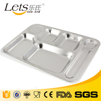 6 Compartment Rectangular hospital stainless steel fast food tray divider plate