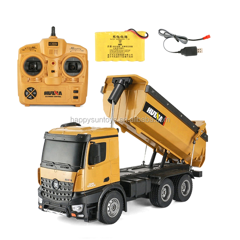 1 14 rc metal rc bulldoz 583  Huina 573 rc dump truck metal toy hydrau excav metal