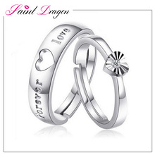 S925 adjustable heart shape couple rings sterling silver diamond wedding ring wholesale
