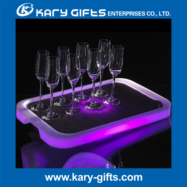 Remote Control Lighted Serving Trays LED Blinking Glass Tray