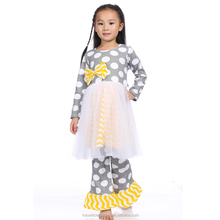 New Fashion Baby Clothes Set Wholesale Girls Fall Fairy Polka Dot Cotton Outfits With Bow Children Boutique Clothing Design