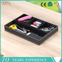 3-Slot Small PU Leather Drawer Tray Desk Stationery Sundries Gadget Organizer Storage Box Business Card Holder