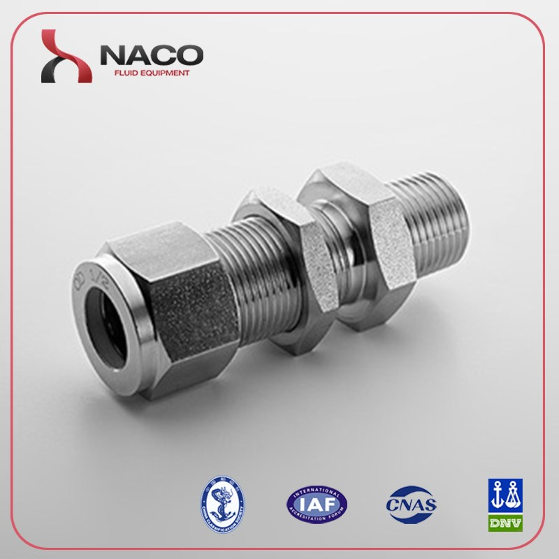 Stainless Steel Bulkhead Male Connector Compression Fittings