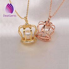 gold and rose gold plated color 925 sterling silver pearl cage pendant necklace