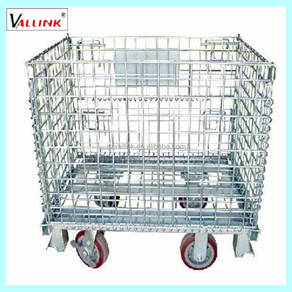 warehouse folding galvanized steel wire storage cage with red wheels