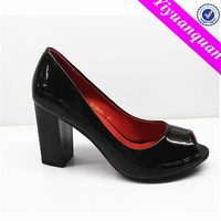 China Wholesale Peep Toe Black Lower Heel Pumps Shoes