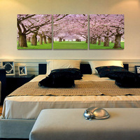 Wall hanging nude pictures abstract woman oil painting for bedroom pink flowering cherry non frame canvas