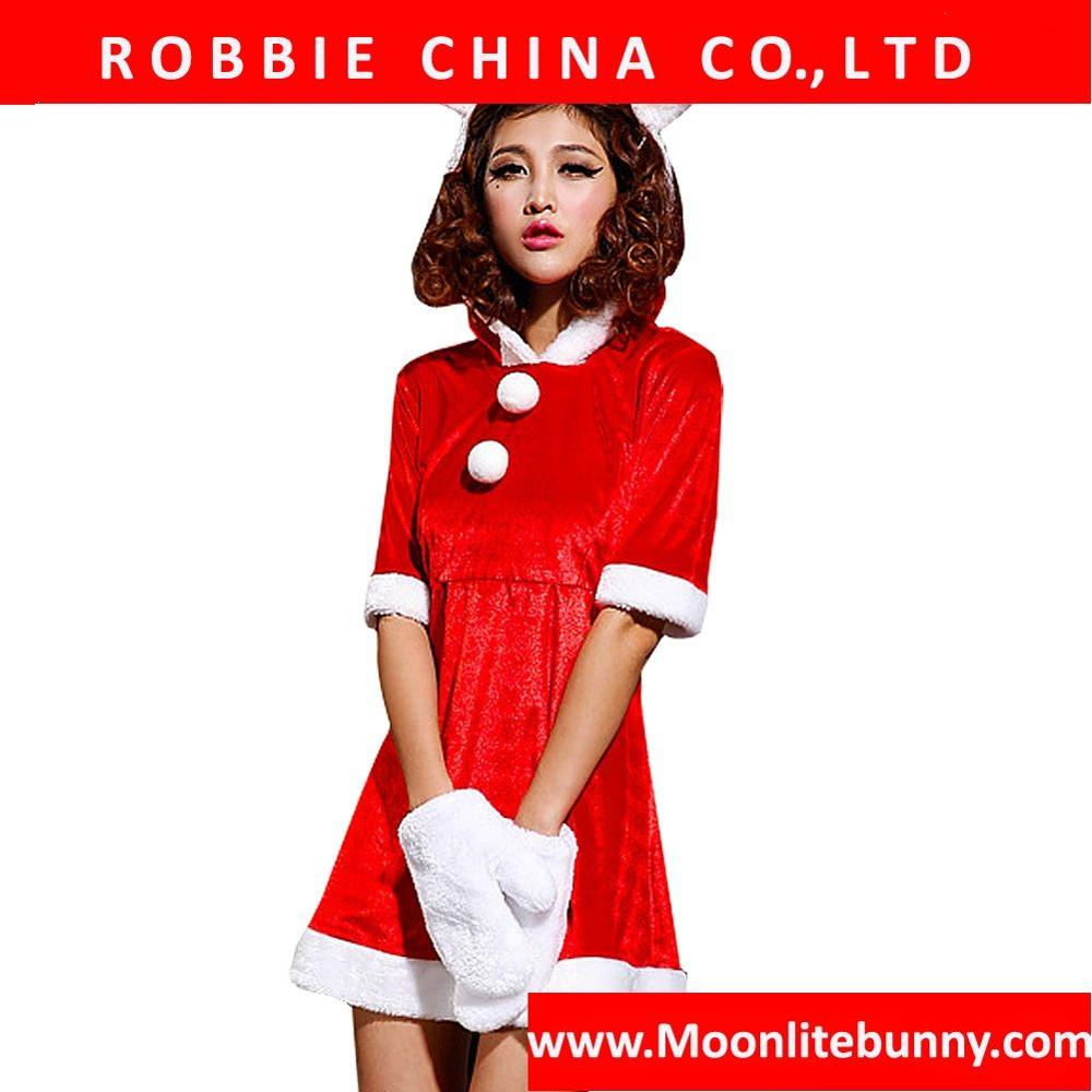 2016 Christmas Dress For Women Plus Size Halloween Costume Club Bunny Girl Cosplay Uniform Dress Outfit FB