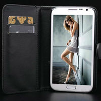 Genuine leather wallet case for samsung galaxy note ii n7100 handbags cell phone cover for samsung note 2 with stand function