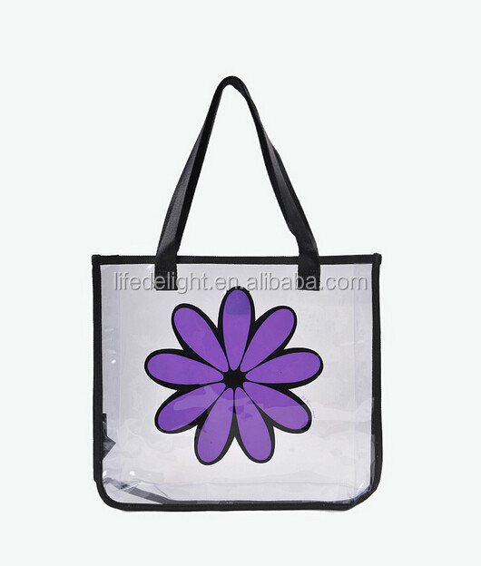 Hot sale waterproof purple flower printed Clear PVC Vinyl Plastic Transparent zipper closure hand bags for beach bikini