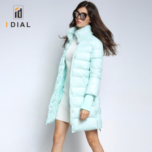 2017 High quality women long coat rabbit fur collar parkas winter duck down jacket