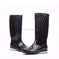 2016 Fashion style durable transparent PVC rain boots, Ladies rain shoes