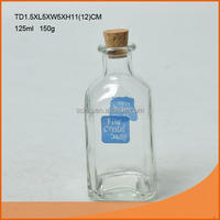 Clear 125ml square shape glass jar with cork