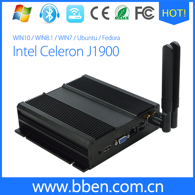 Intel celeron J1900 industrial mini pc with 4gb ram double antenna HDD and SSD supported