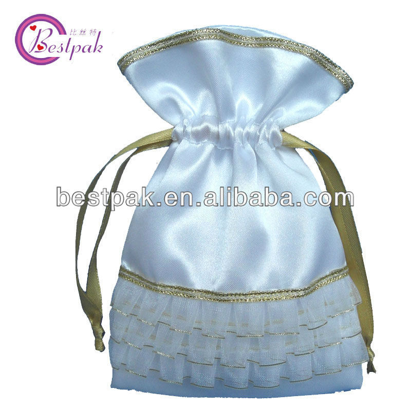 hot sale white custom satin bag