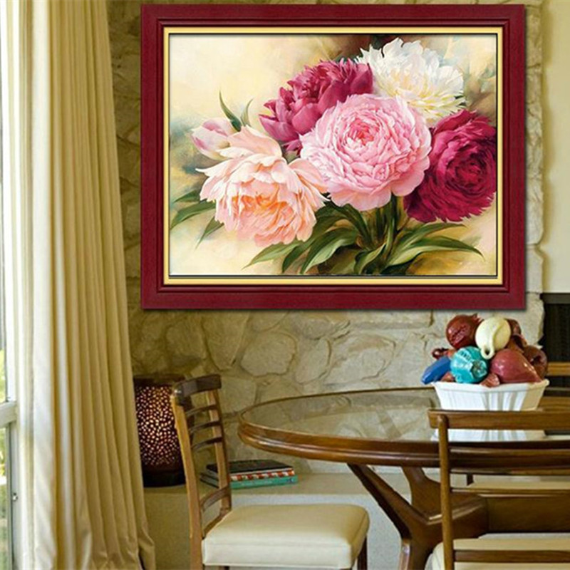DIY 5D Full Diamonds Embroidery Peony flowers Round Diamond Painting Cross Stitch Kits Diamond Mosaic Home Decoration drawing