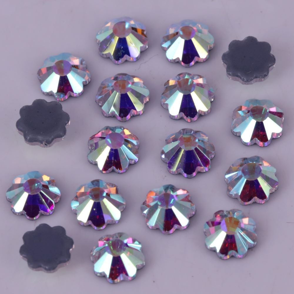 High Quality 4mm,5mm,6mm,7mm <strong>Crystal</strong> AB Marguerite Flat Back Hotfix Rhinestones / Iron On Flat Back <strong>Crystals</strong>
