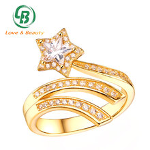 Fashion bling jewelry 18K gold shooting star ring clear CZ flexible silver ring