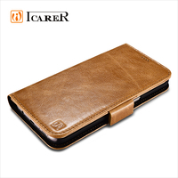 ICARER Genuine Leather Wallet Case For Samsung Galaxy S7 Edge,Real Leather Flip Cover For S7 Edge Case