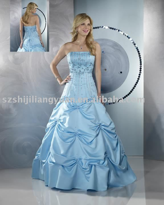 blue popular embroidered wedding gown SJ0640