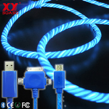 HIgh end discount factory price colorful light glow EL and Led mobile phone data cable