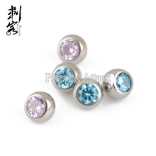 Titanium Internally Threaded CZ Crystal Piercing Replacement Balls