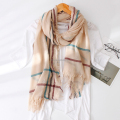 Fashion soft feeling oversize cotton blend big check frayed scarf shawl