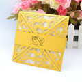 Four-folded customized style Laser Cut invitations Card For Wedding
