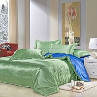 Two Tone Solid Color 4 Pieces Silk Duvet Cover