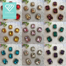 wholesale sparkle rhinestone acrylic stone with metal setting claw trimming