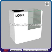TSD-W901 white finished curved glass display counter/glass store counters for sale/wooden cash couner