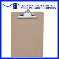 Supply cheap A4 wooden clipboard with steel cip with butterfly clip