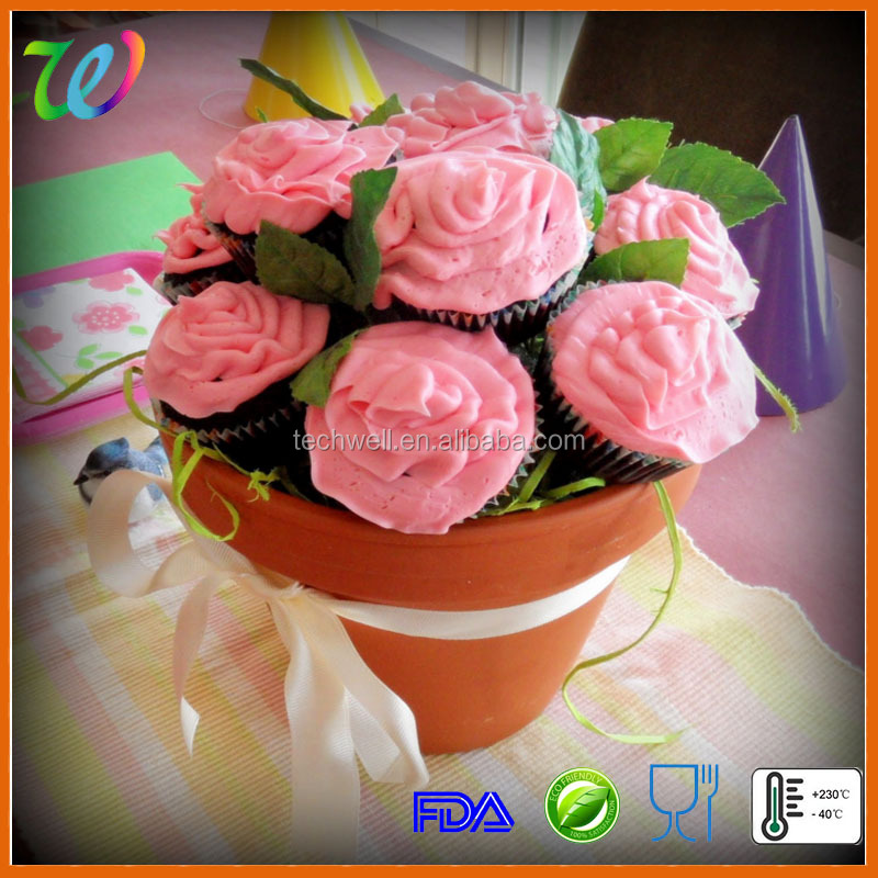 Food quality silicone flower pot cupcake baking molds